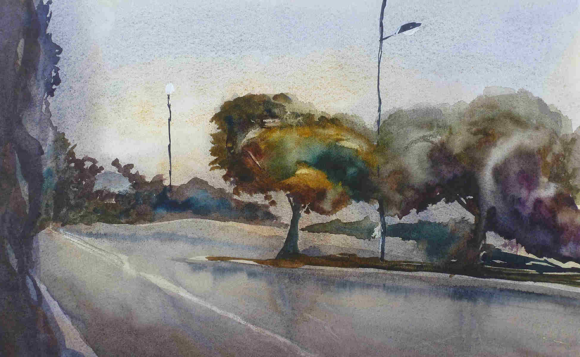 Watercolor painting Remy Lach wet road landscape