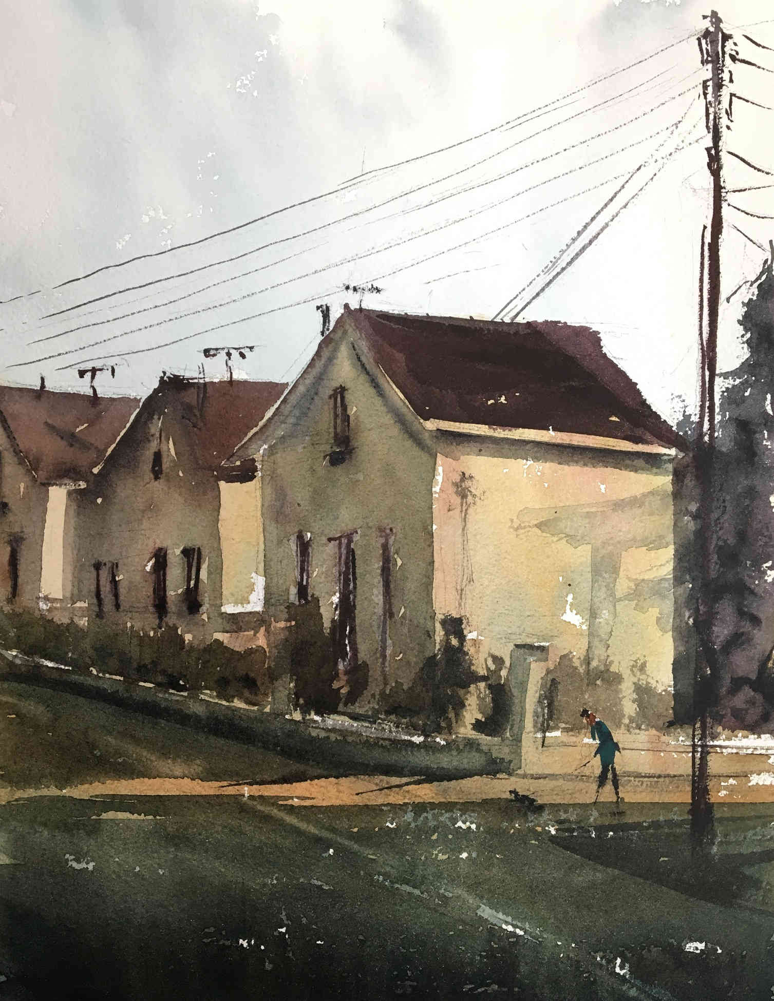 Watercolor cityscape near home remylach