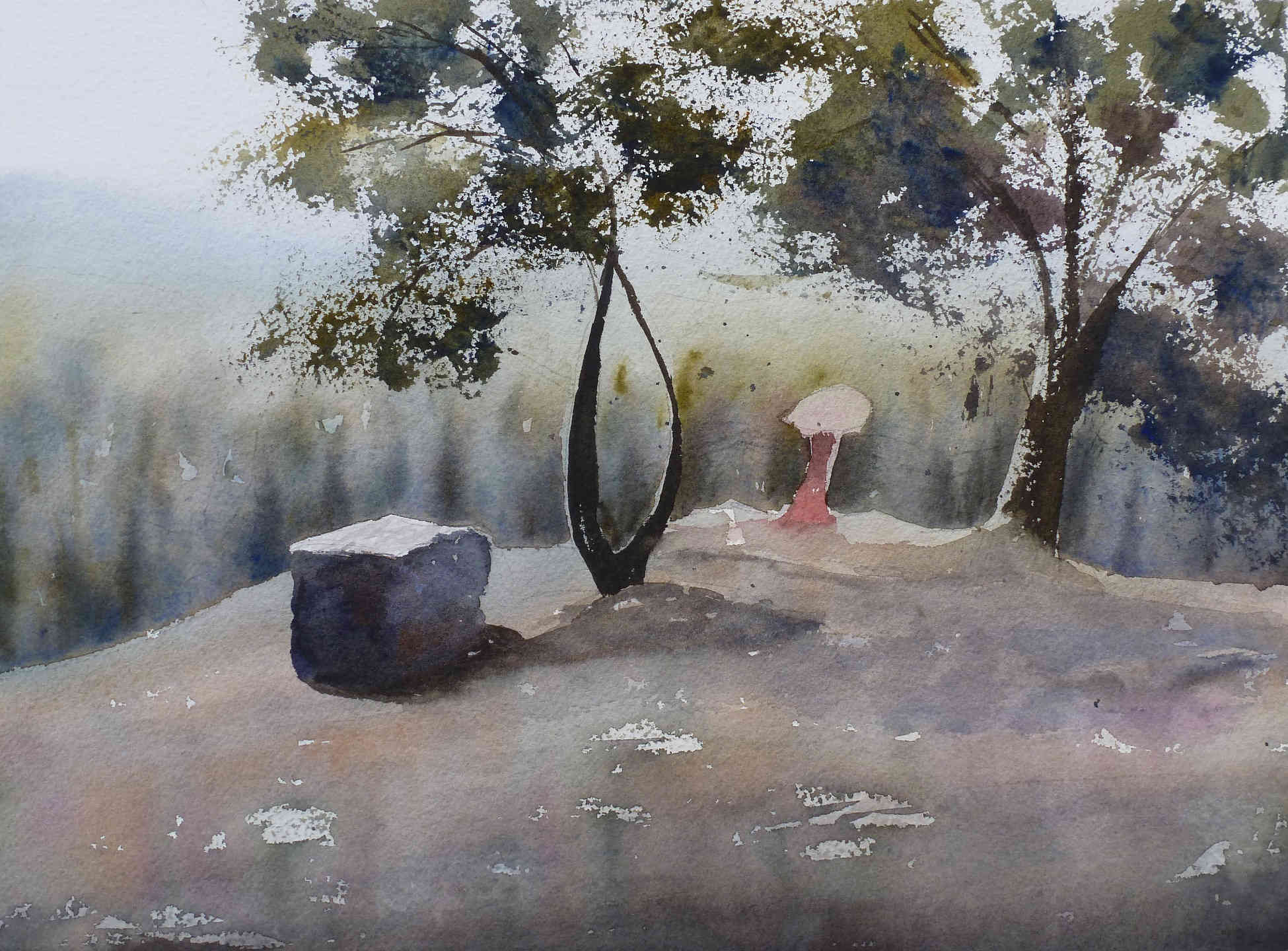 Watercolor landscape Germany Lorelei remylach