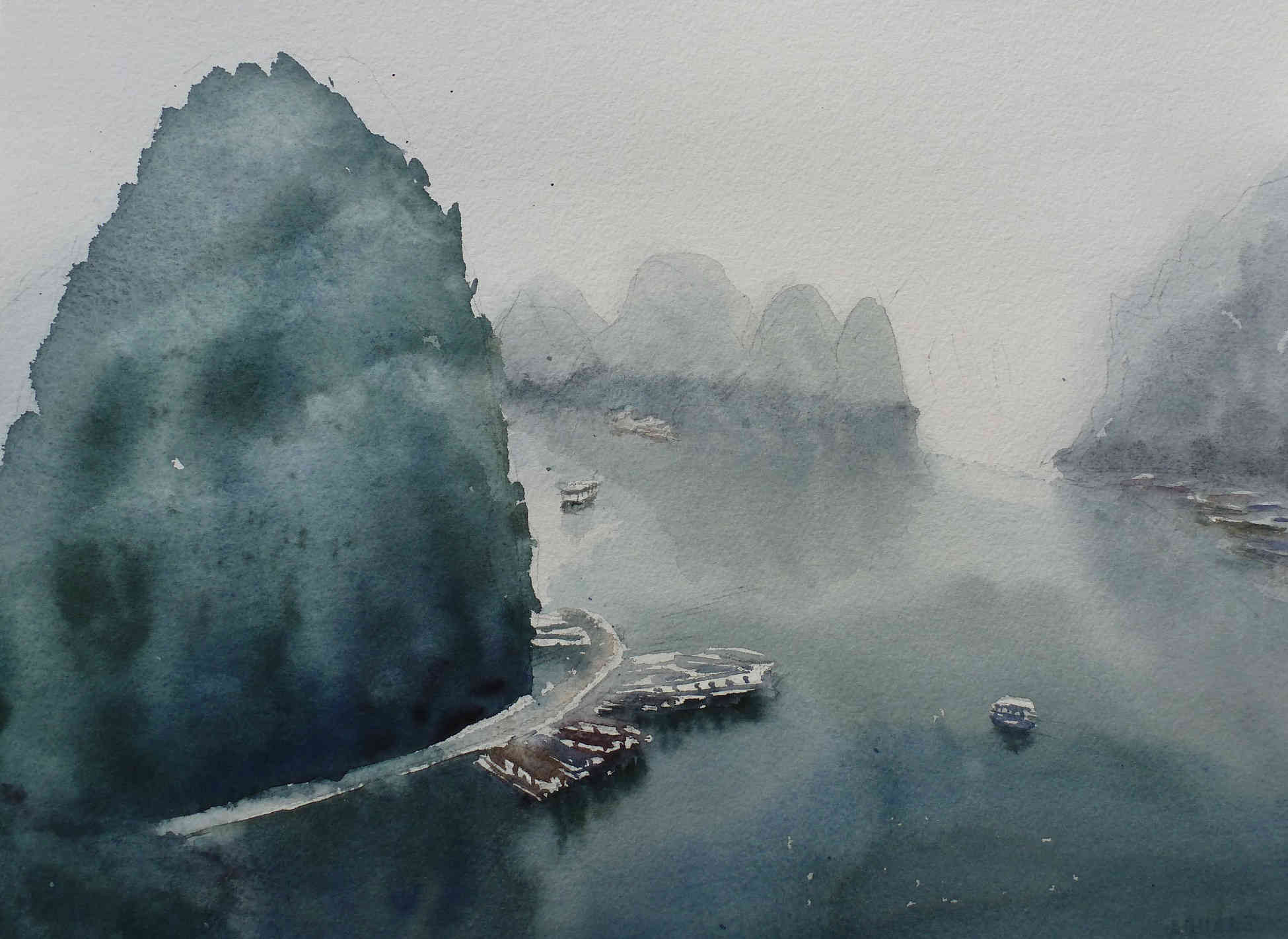 Watercolor landscape Ha long bay Vietnam remylach