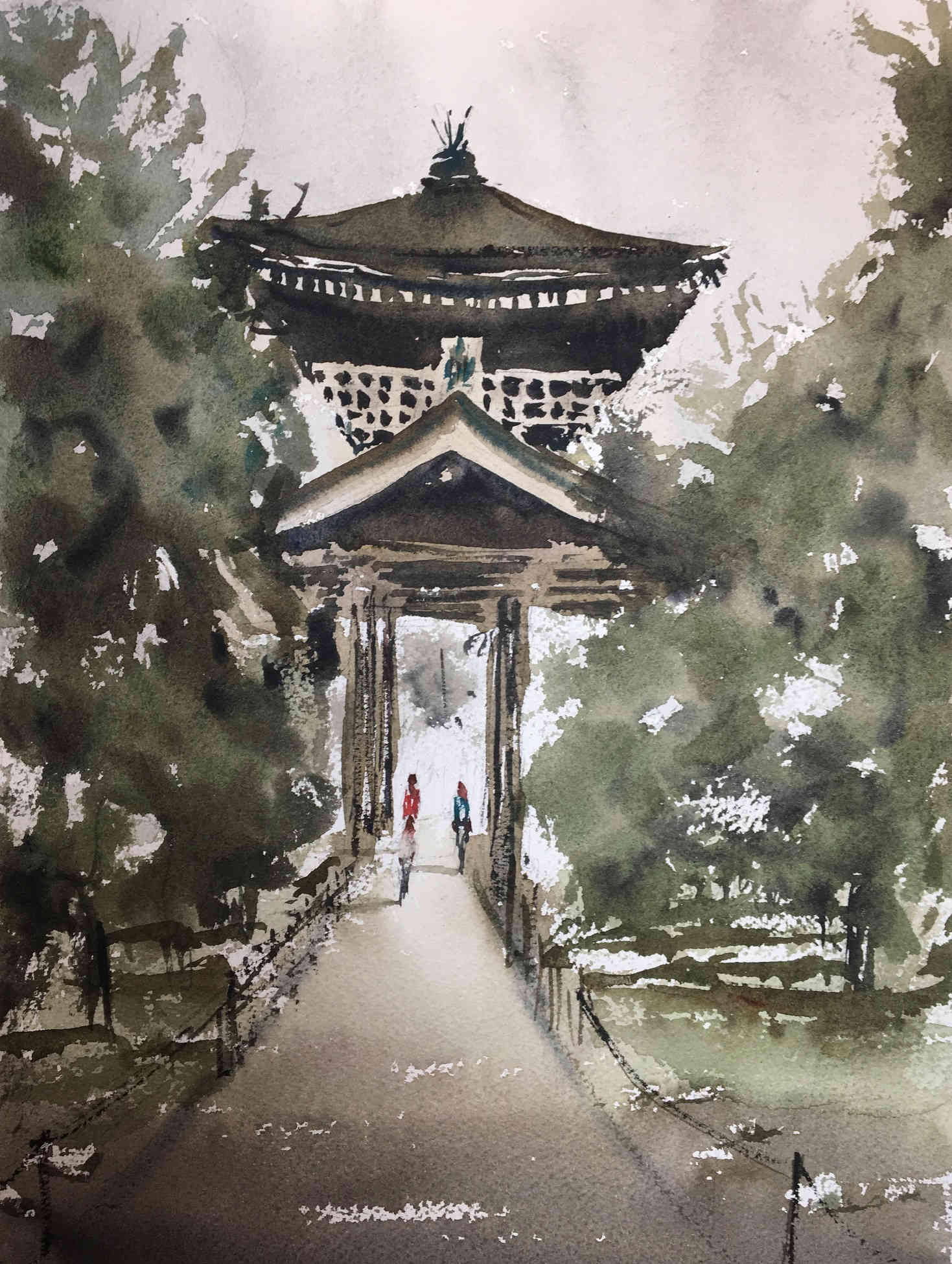 Watercolor landscape japanese temple remylach