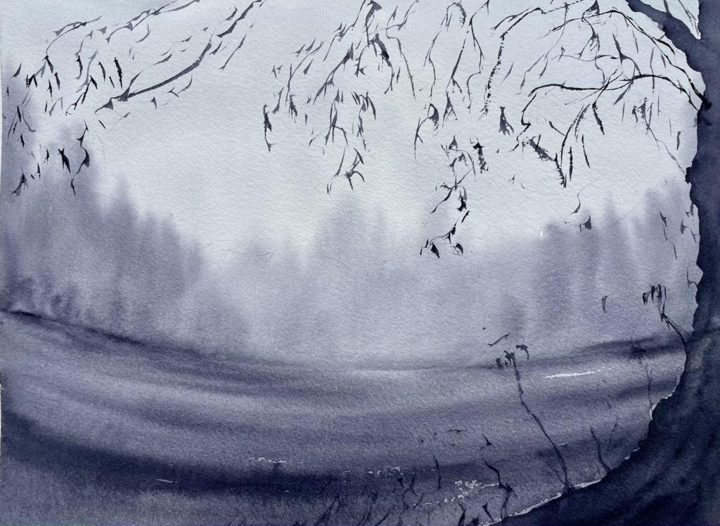 Brume mystique aquarelle remy lach