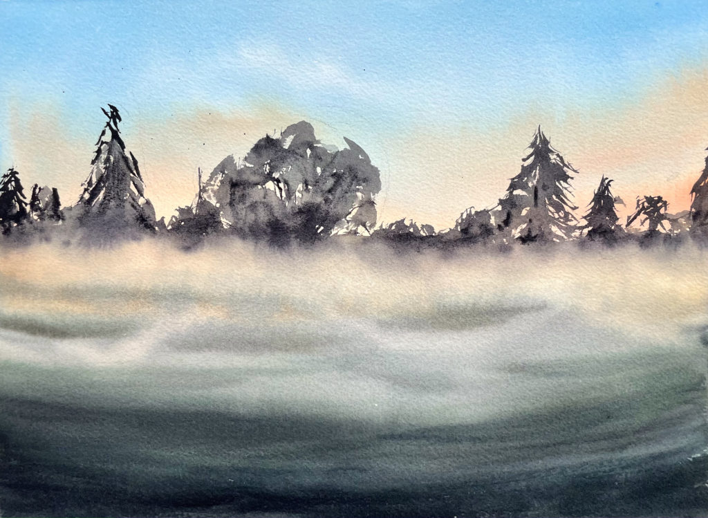 Campagne brumeuse aquarelle remy lach